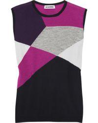 Jil Sander Color-block Cashmere and Silk-blend Top - Lyst