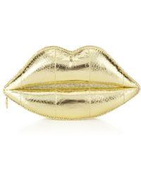 Lulu Guinness Metallic Snakeskin Lips Clutch - Lyst