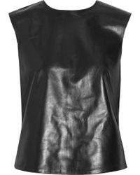 Tibi Leather And Stretch-Jersey Top - Lyst