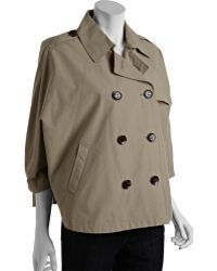 Calvin Klein Tan Cotton Blend Cropped Double Breasted Trench Style Cape - Lyst
