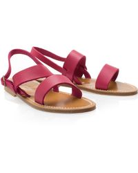 K. Jacques Wide Strap Leather Sandals - Lyst