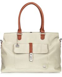 La Bagagerie - Rivage Front Pocket Fabric and Leather Tote - Lyst