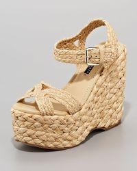 Ralph Lauren Collection - Eralita Raffia Platform Sandal - Lyst