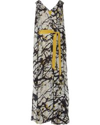 Amanda Wakeley Printed Belted Silk-georgette Maxi Dress - Lyst