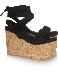 Isabel Marant Suzy Suede and Cork Wedge Sandals - Black