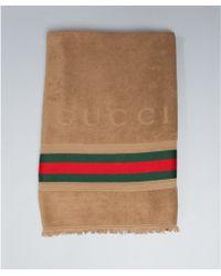 Gucci Brown Cotton Web Stripe Beach Towel - Lyst