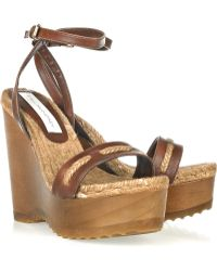 Stella McCartney Faux Leather and Rope Wedge Sandals - Lyst