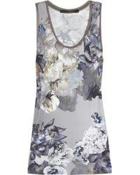 Aminaka Wilmont Floral-print Satin-jersey and Silk-chiffon Top - Lyst