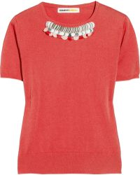 Clements Ribeiro Embellished Fine-knit Cashmere Sweater - Red