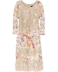 Mulberry Silk-organza Lace and Printed Crepe Dress - Natural