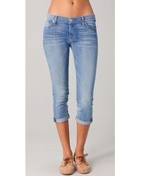 7 For All Mankind Skinny Crop & Roll Skinny Jeans - Lyst