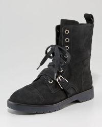 Alexander Wang Daria Suede Combat Boots - Lyst