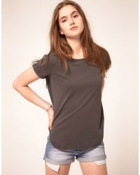 ASOS Collection Asos T-shirt with Curved Hem in Wash - Lyst