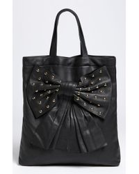 RED Valentino Studded Bow Calfskin Tote - Lyst