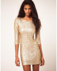 TFNC Tfnc Sequin Dress with Long Sleeves - Lyst