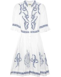 Alice By Temperley Embroidered Cotton and Silk-blend Dress white - Lyst