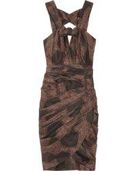 Burberry Prorsum - Printed Silk and Cotton-blend Dress - Lyst