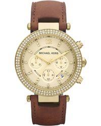 Michael Kors Mid-size Parker Chronograph Glitz Watch, Golden - Lyst