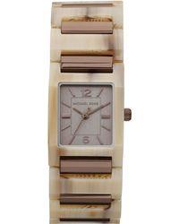 Michael Kors Mini-size Tessa Three-hand Watch, Horn/espresso - Lyst