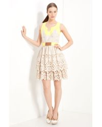 Milly Pippa Laser Cut Tiered Dress - Lyst