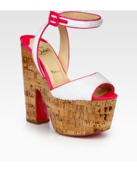 Christian Louboutin Terry Cloth & Patent Leather Platform Sandals - Lyst