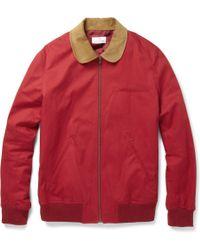 Hentsch Man Corduroy-collar Cotton Bomber Jacket - Red