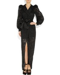 Alessandra Rich Puff-Sleeve Lace Gown - Lyst