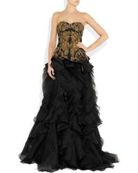 Alexander McQueen Embroidered Silk-Faille And Organza Gown gold - Lyst