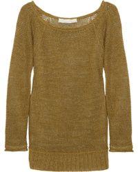 Donna Karan New York Metallic-Weave Open-Knit Linen-Blend Sweater - Lyst