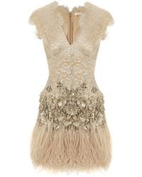 Matthew Williamson Lacquer Lace Feathered Dress - Lyst
