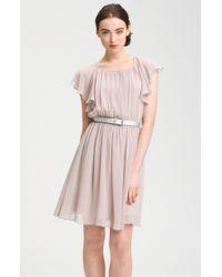 Calvin Klein Butterfly Sleeve Pleated Chiffon Dress - Lyst