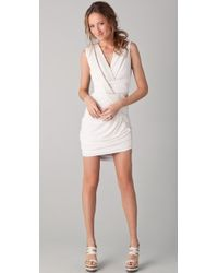 Doo. Ri Sleeveless Draped Dress with Leather Trim - Lyst