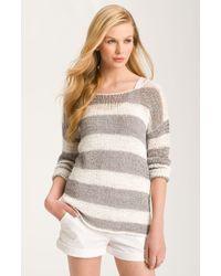 Kensie Open Stitch Stripe Sweater - Lyst