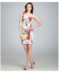 Love Moschino Blueberry Watercolor Print Stretch Cotton Ruffle Front Shift Dress - Lyst