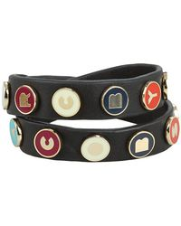 Marc By Marc Jacobs Dreamy Logo Double Wrap Leather Bracelet - Lyst