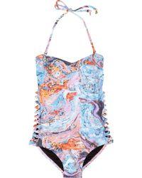 Seventh Wonderland Rever Marbled-print Bandeau Swimsuit - Multicolor