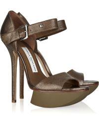 Camilla Skovgaard Metallic Textured-leather Sandals