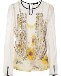 Vionnet Embellished Tulle and Silk Crepe De Chine Top - Lyst