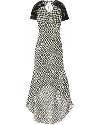 Clements Ribeiro - Alyona Printed Silk and Lace Dress - Lyst