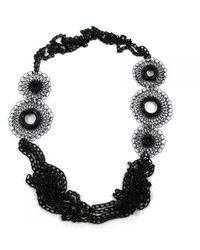 Sari Glassman Ooak Black Daisy Flowers Necklace - Lyst