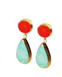 Toosis Turquoise and Coral Earring - Lyst