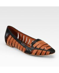 Elizabeth and James Gemma Cutout Leather Point Toe Loafers - Brown