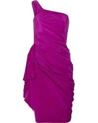 Amanda Wakeley Ruffled Silk Cady One Shoulder Dress - Lyst