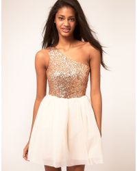 ASOS Collection Asos Skater Dress with Sequin Top gold - Lyst