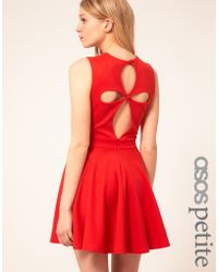 Asos Exclusive Skater Dress With Cut Out Back Detail - Lyst