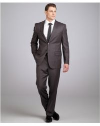 Joseph Abboud - Brown Pinstripe Super 120s Wool 2button Suit with Flat Front Trousers - Lyst