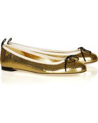 Gucci Metallic Leather Ballet Flats - Lyst