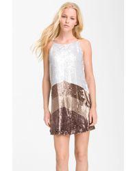 Parker Colorblock Sequin Shift Dress - Lyst