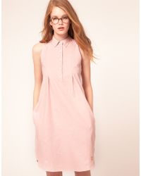 Le Mont St Michel Sleeveless Shirt Dress In Pastel Chambray - Pink