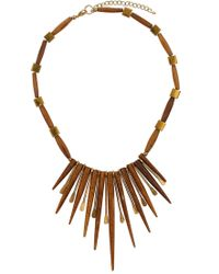 Topshop Wooden Spike Collar Necklace - Lyst